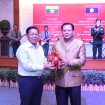 Commander of Champasak Province Military Command BrigadierGeneral Sukai Phimmasan hosts dinner to Senior General Min Aung Hlaing