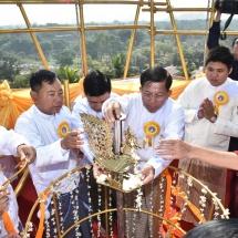 Seinbudaw, Ngetmyatnadaw, Shwehtidaw hoisting ceremony of Nan Oo Pagoda and gold gilding and consecration ceremony of Arthawka Pagoda held