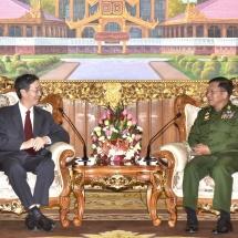 တပ်မတော်ကာကွယ်ရေးဦးစီးချုပ် ဗိုလ်ချုပ်မှူးကြီး မင်းအောင်လှိုင် တရုတ်ပြည်သူ့ သမ္မတနိုင်ငံ၊ နိုင်ငံခြားရေး ဝန်ကြီးဌာန၏ အာရှရေးရာအထူးကိုယ်စားလှယ် H.E. Mr. Sun Guoxiang အားလက်ခံတွေ့ဆုံ