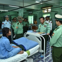 Commander-in-Chief of Defence Services Senior General Min Aung Hlaing encourages hospitalized officers, other ranks and family members at military hospital in Meiktila, meets professors, medical officers, nurse officers
