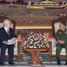 Senior General Min Aung Hlaing receives French Ambassador H.E. Mr. Christian Lechervy