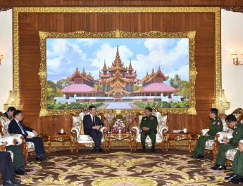 Commander-in-Chief of Defence Services Senior General Min Aung Hlaing receives Chinese Special Envoy for Asian Affairs Mr. Sun Guoxiang