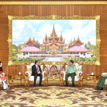 Senior General Min Aung Hlaing receives Vice Minister of Foreign Affairs special envoy of the Prime Minister of SRV H.E. Mr. Nguyen Quoc Dung
