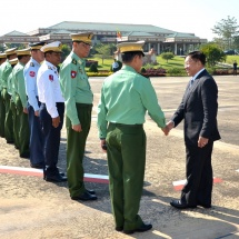 Myanmar Tatmadaw delegation led by Senior General Min Aung Hlaing arrives back from Lao People's Democratic Republic