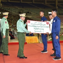 Winners awarded in final match of Commander-in-Chief of Defence Services' Trophy Tatmadaw (Army, Navy and Air) Football Tournament, sports meets for 2018-2019