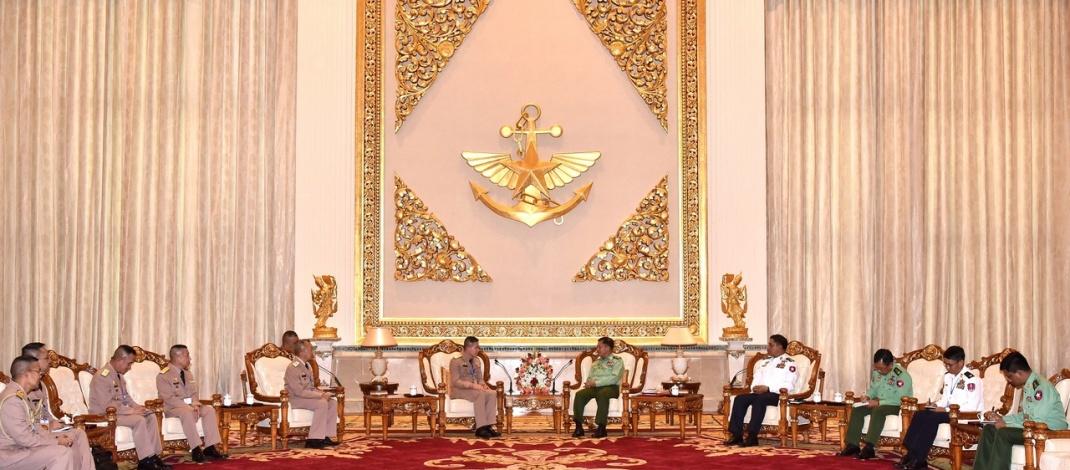 Senior General Min Aung Hlaing receives Commander-in-Chief of Royal Thai Navy Admiral Luechai Ruddit
