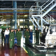 Senior General Min Aung Hlaing visits Tatmadaw heavy industries and assembling of car engine parts in Magway and Myingyan stations