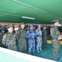 Enhance the national defence prowess of the Tatmadaw that is safeguarding the country; joint military drill of Tatmadaw Army and Air and artillery and armoured forces conducted