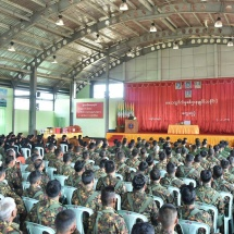 Senior General Min Aung Hlaing meets officers,other ranks, families of Tanai Station