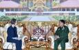 တပ်မတော်ကာကွယ်ရေးဦးစီးချုပ် ဗိုလ်ချုပ်မှူးကြီး မင်းအောင်လှိုင် မြန်မာနိုင်ငံဆိုင်ရာ သြစတြေးလျ နိုင်ငံသံအမတ်ကြီး H.E. Ms. Andrea Faulkner အား လက်ခံတွေ့ဆုံ