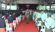 Senior General Min Aung Hlaing meets officers, other ranks and families in Mogaung, Mohnyin stations