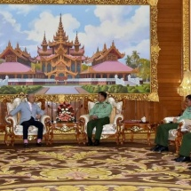 Senior General Min Aung Hlaing receives Special Envoy of Japanese Government for Myanmar and Chairman of Nippon Foundation H.E. Mr. Yohei SASAKAWA