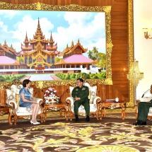 Senior General Min Aung Hlaing receives UN SG's Special Envoy on Myanmar Ms. Christine Schraner Burgener