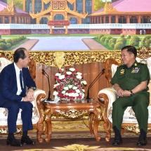 တပ်မတော်ကာကွယ်ရေးဦးစီးချုပ် ဗိုလ်ချုပ်မှူးကြီး မင်းအောင်လှိုင် မြန်မာနိုင်ငံဆိုင်ရာ ဂျပန်နိုင်ငံ သံအမတ်ကြီး H.E. Mr. Ichiro MARUYAMA အား လက်ခံတွေ့ဆုံ (ရုပ်သံသတင်း)