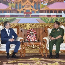 တပ်မတော်ကာကွယ်ရေးဦးစီးချုပ် ဗိုလ်ချုပ်မှူးကြီး မင်းအောင်လှိုင် ဆွစ်ဇာလန်နိုင်ငံခြားရေးဝန်ကြီးဌာန၊ အာရှ – ပစိဖိတ်ဒေသဆိုင်ရာဌာနအကြီးအကဲ H.E. Mr. Raphael Nageli အား လက်ခံတွေ့ဆုံ
