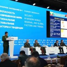"""တပ္မေတာ္ကာကြယ္ေရးဦးစီးခ်ဳပ္ ဗိုလ္ခ်ဳပ္မွဴးႀကီး မင္းေအာင္လိႈင္ (၈)ႀကိမ္ေျမာက္ ေမာ္စကို ႏိုင္ငံတကာ လံုၿခံဳေရးဆိုင္ရာညီလာခံ(8th Moscow Conference on International Security) သို႔ တက္ေရာက္၍ """"အင္ဒုိ-ပစိဖိတ္ေဒသတြင္း စစ္ဘက္ပူးေပါင္းေဆာင္ရြက္မႈမ်ားနွင့္ ေဒသတြင္းလုံျခံဳေရးဆုိင္ရာ အလားအလာမ်ား"""" ေခါင္းစဥ္ျဖင့္ေဆြးေႏြး"""