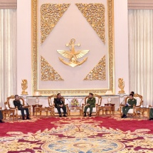 Senior General Min Aung Hlaing receives Major General Pasith Thiengtham, Deputy Chief of General Staff Department of Lao People's Armed Forces