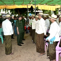Senior General Min Aung Hlaing encourages mobile Tatmadaw medical team providing healthcare for local people, meet locals, discuss regional development
