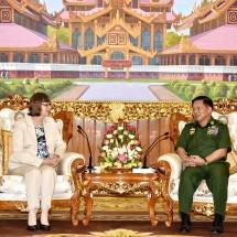 Senior General Min Aung Hlaing receives German Ambassador to Myanmar H.E. Mrs. Dorothee Janetzke-Wenzel