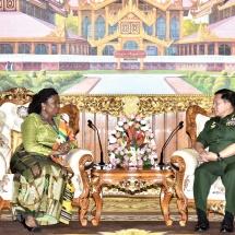 Senior General Min Aung Hlaing receives Ambassador of Ghana to Myanmar H.E. Ms. Akua Sekyiwa Ahenkora