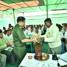 Senior General Min Aung Hlaing meets residents of Ngathayauk and nearby villages of NyaungU Township, discusses regional development