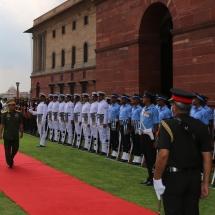 Senior General Min Aung Hlaing welcomed by Air Chief Marshal Birender Singh Dhanoa, talks held
