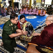 23rd ceremony to donate rice, edible oil, salt, gram,medicines and cash for nine prerequisites by families of Tatmadaw (Army, Navy and Air) and well-wishers held