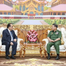 တပ်မတော်ကာကွယ်ရေးဦးစီးချုပ် ဗိုလ်ချုပ်မှူးကြီး မင်းအောင်လှိုင်  မြန်မာနိုင်ငံဆိုင်ရာ ပါကစ္စတန် သံအမတ်ကြီးအား လက်ခံတွေ့ဆုံ