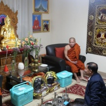 Myanmar delegation led by Senior General Min Aung Hlaing visits Myanmar Theravada Buddha Vihara (Moscow),offers day meal to members of Sangha