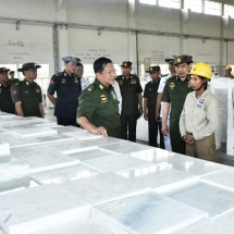 Senior General Min Aung Hlaing visits marble tile factory (Mandalay),dairy cow farming project, construction site of ancient cannon museum in Mandalay Palace