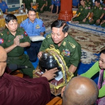 Families of Tatmadaw (Army, Navy and Air) and well-wishers donated rice, edible oil, salt, gram, medicines and cash for trust fund of rice to monasteries, nunneries and homes for the aged in Lewe Township of Nay Pyi Taw
