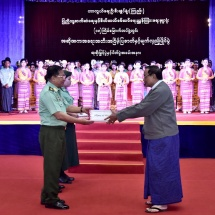 Prize-presentation ceremony of 18th inter-military performing arts,dramatic performance, play and magic show contests organized by Directorate of Public Relations and Psychological Warfare of Office of the Commander-in-Chief (Army) held with the aim of discovering,protecting and preserving Myanmar traditional culture and fine arts and invigorating patriotism, nationalistic fervor and pride