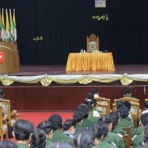 တပ်မတော်ကာကွယ်ရေးဦးစီးချုပ် ဗိုလ်ချုပ်မှူးကြီး မင်းအောင်လှိုင် တပ်မတော်(ကြည်း) ဗိုလ်သင်တန်းကျောင်း(မှော်ဘီ)မှ နည်းပြအရာရှိများ၊ ခြေလျင်တပ်စုမှူး(အမျိုးသမီး) သင်တန်းနှင့် ဘွဲ့ရအမျိုးသမီးဗိုလ်လောင်းသင်တန်း တို့မှ သင်တန်းသူများအား တွေ့ဆုံအမှာစကားပြောကြား(ရုပ်သံသတင်း)