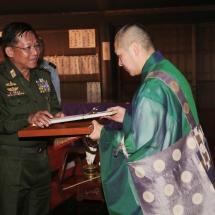 Tatmadaw delegation led by Senior General Min Aung Hlaing visits Tachikawa airbase, Jindaiji monastery