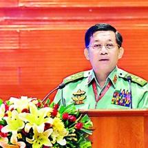 တပ်မတော်ကာကွယ်ရေးဦးစီးချုပ် ဗိုလ်ချုပ်မှူးကြီး မင်းအောင်လှိုင် တစ်နိုင်ငံလုံး ပစ်ခတ်တိုက်ခိုက်မှုရပ်စဲရေး သဘောတူစာချုပ်(NCA) (၄) နှစ်မြောက်နှစ်ပတ်လည်အခမ်းအနားသို့ တက်ရောက်မိန့်ခွန်းပြောကြား (ရုပ်သံသတင်း)