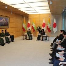 Senior General Min Aung Hlaing meets Japanese Prime Minister H.E. Mr. Shinzo ABE, Foreign Affairs Minister Mr. Toshimitsu MOTEGI