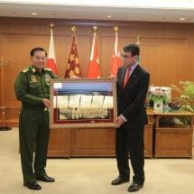 Senior General Min Aung Hlaing meets Minister of Defence of Japan Mr. Taro Kono