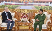 Senior General Min Aung Hlaing receives a delegation led by State Secretary (Retired) in Norwegian Ministry of Foreign Affairs Secretary General of Norwegian Refugee Council (NRC) Mr. Jan Egeland