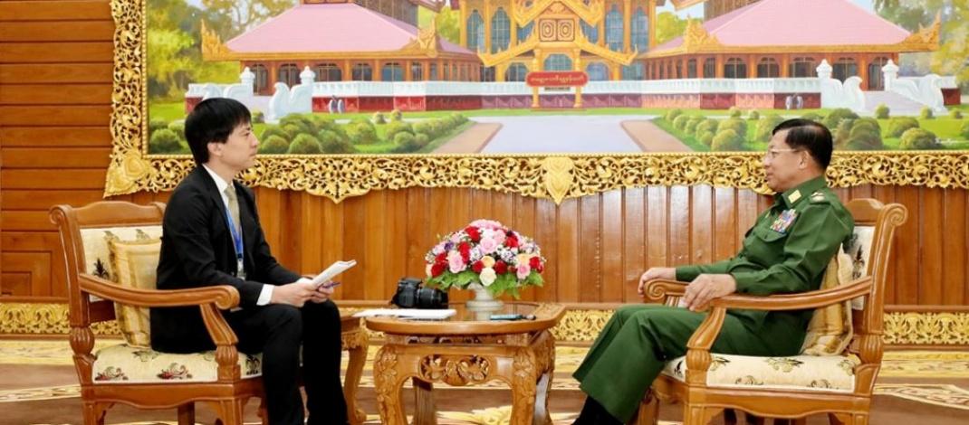 Senior General Min Aung Hlaing receives Yomiuri Shimbun News Agency of Japan, replies to queries
