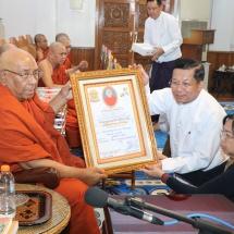 တပ်မတော်(ကြည်း၊ရေ၊လေ)မိသားစုများက မြန်မာနိုင်ငံလုံးဆိုင်ရာ ဗုဒ္ဓတက္ကသိုလ်များ အတွက် နဝကမ္မ အလှူတော်ငွေများနှင့် သီတဂူရေအလှူတော်အလှူငွေများ ဆက်ကပ်လှူဒါန်း (ရုပ်သံသတင်း)