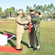 တပ်မတော်ကာကွယ်ရေးဦးစီးချုပ် ဗိုလ်ချုပ်မှူးကြီး မင်းအောင်လှိုင် ဘွဲ့ရအမျိုးသမီးဗိုလ်လောင်းသင်တန်း အမှတ်စဉ်(၆) သင်တန်းဆင်းဂုဏ်ပြုစစ်ရေးပြ အခမ်းအနားတက်ရောက် (ရုပ်သံသတင်း)