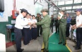 Senior General Min Aung Hlaing inspects Tatmadaw Textile Factory (Thamaing)