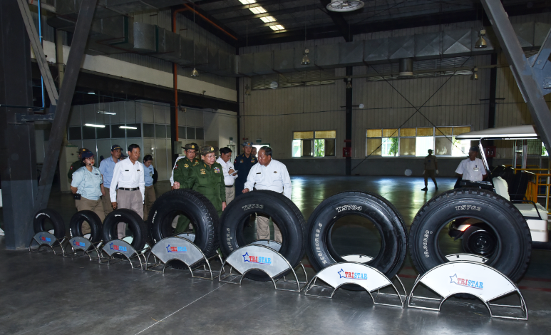 Senior General Min Aung Hlaing visits Tyre Factory (Ywama) of Myanmar Economic Corporation, inspects production process