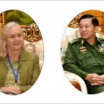 ပ်မတော်ကာကွယ်ရေးဦးစီးချုပ် ဗိုလ်ချုပ်မှူးကြီး မင်းအောင်လှိုင် ငြိမ်းချမ်းရေးပူးပေါင်းရံပုံငွေ အဖွဲ့ (JPF) ဥက္ကဋ္ဌ၊ မြန်မာနိုင်ငံဆိုင်ရာ ဖင်လန်နိုင်ငံသံအမတ်ကြီးအား လက်ခံတွေ့ဆုံ(ရုပ်သံသတင်း)