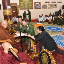 Families of Tatmadaw (Army, Navy and Air) donate rice, edible oil, salt, gram, medicines and cash for alms to Pariyatti monasteries and nunneries in Taunggyi