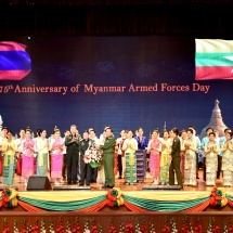 Cultural troupe of Lao People's Armed Forces performs to honour the 75th anniversary (diamond jubilee) of Armed Forces Day 2020