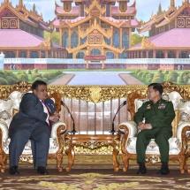 Senior General Min Aung Hlaing receives Malaysian Ambassador to Myanmar H.E. Mr. Zahairi Baharim