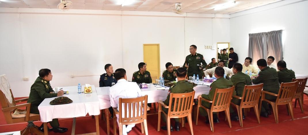 Senior General Min Aung Hlaing inspects construction of Myanma Tharkaung war veteran housing (Laydaukkan)