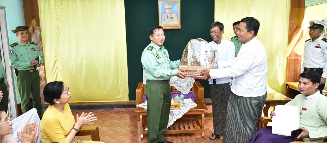 Senior General Min Aung Hlaing cordially meets town elders in Chaungzon, observes regional industries