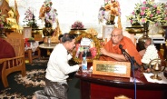 Ceremony to honour and pay respects to Pitakattayacheka Abhidhaja Sayadaws and Sitagu Sayadaw, the recipient Sayadaw of Abhidhaja Agga Maha Saddhammajotika Title, and share merits for the Sitagu water donation by Tatmadaw (Army, Navy and Air) and families held